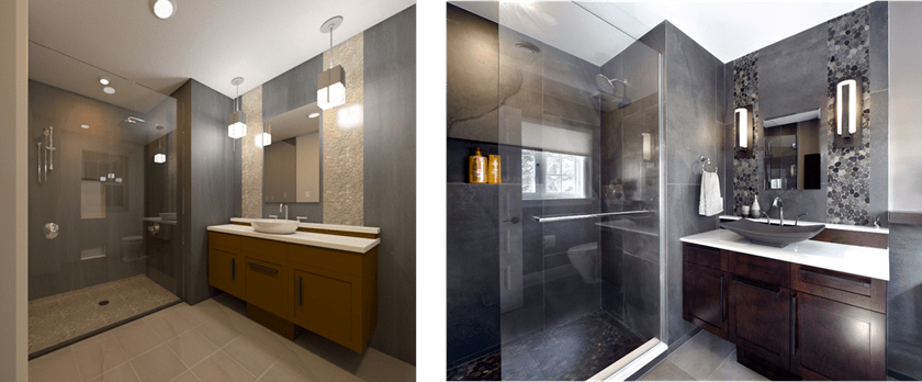bathroom 3D rendering and photo Amsted Design-Build